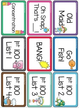 Sight Word Card Games - Fry Words First 100