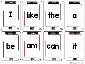 Sight Word Card Games: Kindergarten {Whole YEAR}