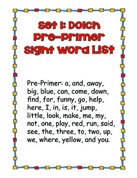 Sight Word Cards Set Plus Color Words - Great for Home to School Work