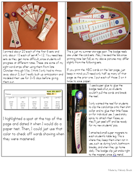 Sight Word Card Strips