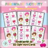 February Literacy: 100 Sight Word Cards, Kindergarten Sight Word Flash Cards