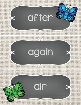 Sight Word Cards #101-200 - Word Wall - Butterflies
