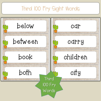 Sight Word Cards (201-300 Fry Sight Words) - Cactus Themed