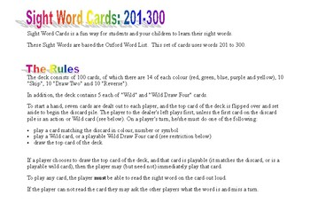 Sight Word Cards 201 to 300