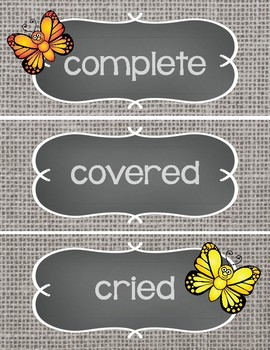 Sight Word Cards #301-400 - Word Wall - Butterflies