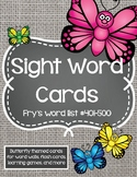 Sight Word Cards #401-500 - Word Wall - Butterflies