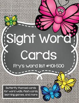 Sight Word Cards #401-500 - Word Wall - Butterflies