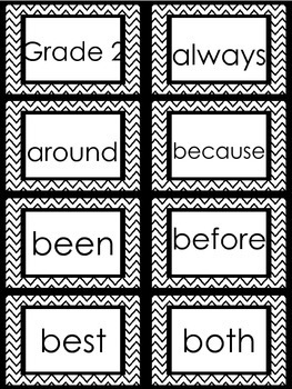 Sight Word Cards Chevron