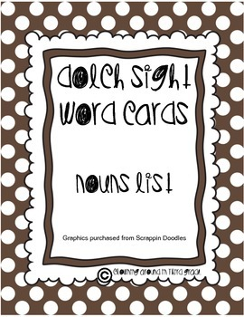 Sight Word Cards Dolch Nouns
