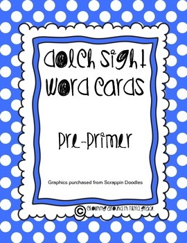 Sight Word Cards Dolch Pre-Primer