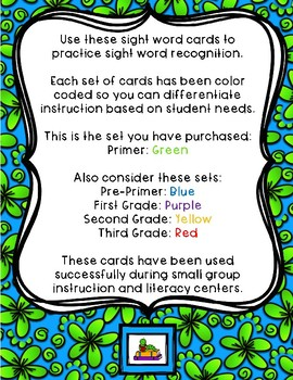 Sight Word Cards - Dolch: Primer