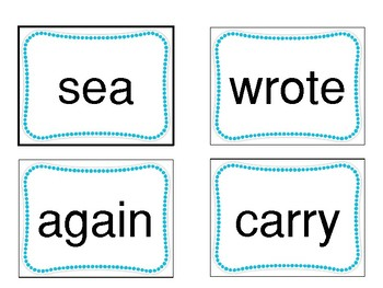 Sight Word Cards - Fountas and Pinnell 200 word list