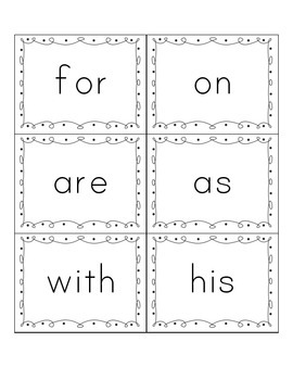 Sight Word Cards (Fry List) FREEBIE