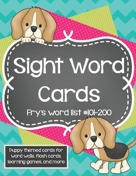 Sight Word Cards - Fry's List #101-200 - Puppy themed word wall