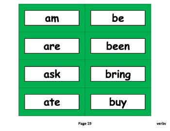 Sight Word Cards (Parts of Speech)