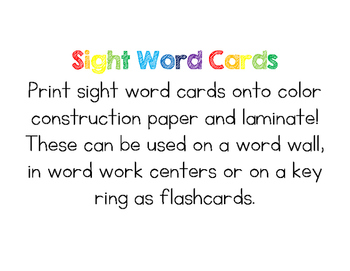 Sight Word Cards (Spanish version) - Kindergarten & First Grade