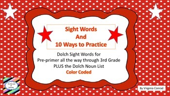 Sight Word Cards and 10 Activity Ideas