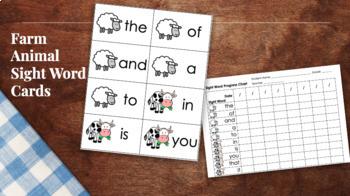 Farm Animal Sight Word Cards and Progress Chart