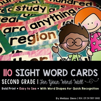 Sight Word Cards for Word Wall, 2nd Grade