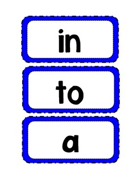 Sight Word Cards for Word Wall - Blue