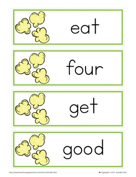 Sight Word Cards for Word Wall Primer Popcorn Word Cards in 3 Colors