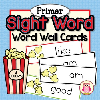 Sight Word Cards for Word Wall: Dolch Primer Popcorn Word
