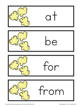 Sight Word Cards for Word Wall: Fry List 1 Popcorn Word Cards in 3 Colors