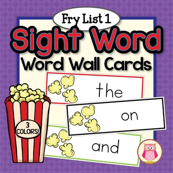 Sight Word Cards for Word Wall: Fry List 1 Popcorn Word Ca