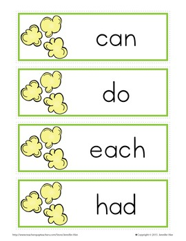 Sight Word Cards for Word Wall: Fry List 2 Popcorn Word Cards in 3 Colors