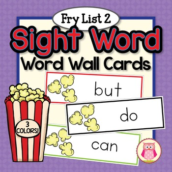 Sight Word Cards for Word Wall: Fry List 2 Popcorn Word Ca