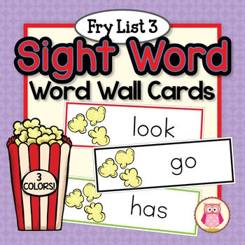 Sight Word Cards for Word Wall: Fry List 3 Popcorn Word Cards in 3 Colors