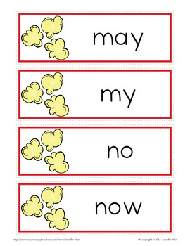 Sight Word Cards for Word Wall: Fry List 4 Popcorn Word Cards in 3 Colors