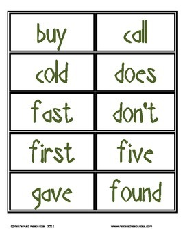 Sight Word Cards for Your Word Wall