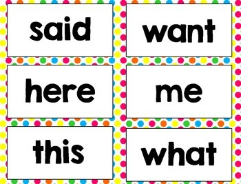 Polka dot, Sight Word Cards, practice, word work, stations, Kindergarten Wonders