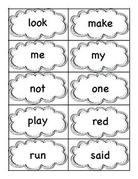 Sight Word Cards with Sentence Helpers