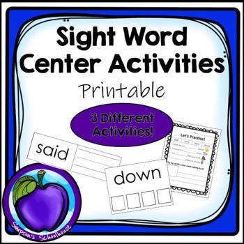 Sight Word Center Activities