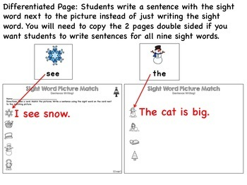 Sight Word Center Activities (Differentiated)