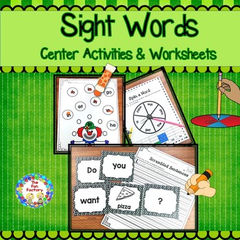 Sight Word Center Activities and Worksheets