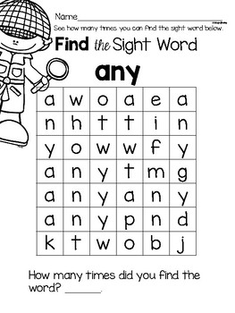 Sight Word Center Activities for the word: any