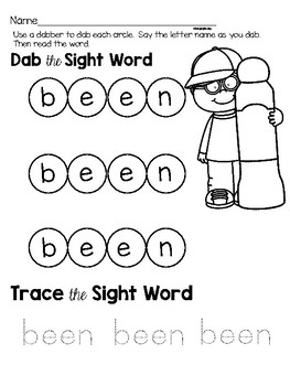 Sight Word Center Activities for the word: been