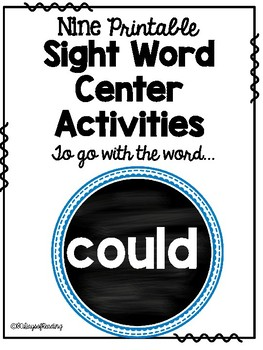 Sight Word Center Activities for the word: could