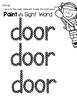 Sight Word Center Activities for the word: door