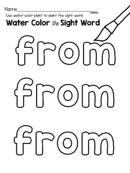 Sight Word Center Activities for the word: from