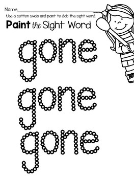 Sight Word Center Activities for the word: gone