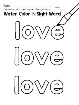 Sight Word Center Activities for the word: love