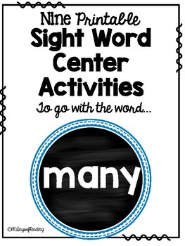 Sight Word Center Activities for the word: many