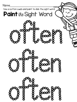Sight Word Center Activities for the word: often