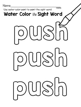 Sight Word Center Activities for the word: push