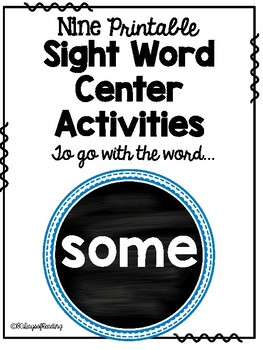 Sight Word Center Activities for the word: some