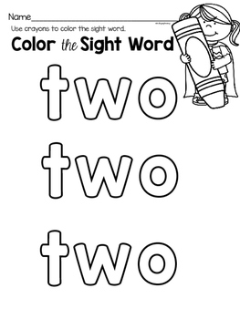Sight Word Center Activities for the word: two